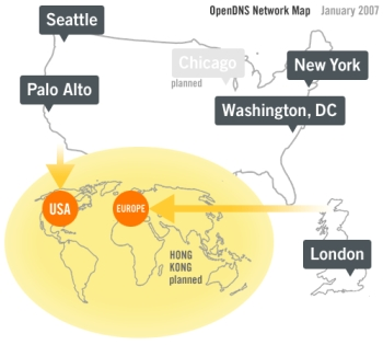 OpenDNS Server Map