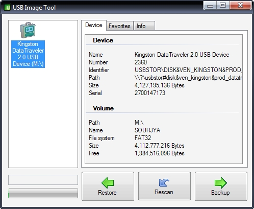 USB Image Tool Screen-shot