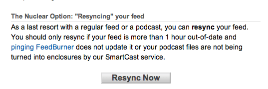 "Feedburner ""Resync now"" button"